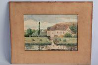 Aquarelle originale Binic par E. Louis 1905 Bretagne