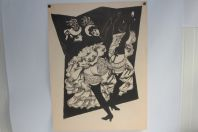 Lithographie originale Henry MEYLAN Danseuses French cancan