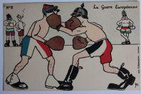 CPA satirique Guillaume La guerre européenne Boxe Miniouvis