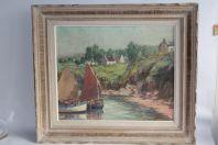 Tableau Peinture à l'huile Clarence MILLET Douarnenez Bretagne