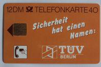 Télécarte à puce Allemagne TÜV Berlin Sicherheit 1988