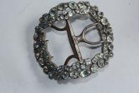 Ancienne boucle de ceinture acier et strass