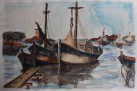 Aquarelle originale LE GOFF  Bateaux