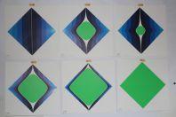 """CANDOLFI Serge suite 6 sérigraphies design """" Rouge Bleu """" limitée 50ex."""