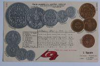 CPA gaufrée Égypte Monnaies et pavillon national