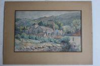 Aquarelle originale signée Génolhac (Gard) Juillet 1909 France
