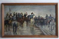 Tableau peinture Jean Maxime CLAUDE 1886 Cavaliers militaires