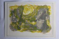 Lithographie originale Maurice Elie SARTHOU Paysage Soleil