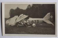 Carte postale ancienne accident Avion Dewoitine Payerne Suisse 1930