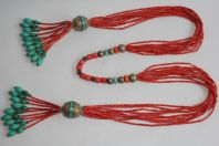 Collier ethnique Turquoise Corail Tibet Himalaya