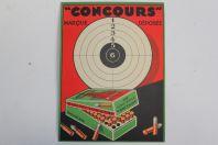 Ancien carton publicitaire Cartouches 22 long rifle Concours