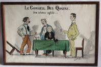 Dessin Caricature Conseil des quatre Clemenceau Woodrow Guerre 1919