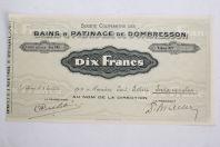 Part sociale Action Société Bains et Patinage Dombresson Suisse 1918