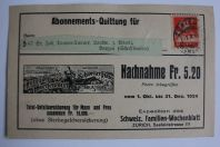 Abonnements Quittung für nachnahme 5.20 fr Suisse 1924