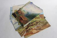 Aquarelles Paysages de montagne Alpes XIXe siècle