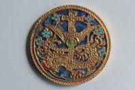 Médaille bronze doré émaillée Scène biblique Dragon