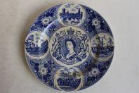 Assiette porcelaine Commémorative jubilé d'argent Reine Elizabeth II