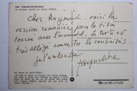 Lettre manuscrite Jacqueline PAGNOL film Naïs Marcel Pagnol Fernandel