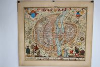 Ancienne lithographie carte ville de Paris 1576 Rossingol