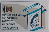 Télécarte à puce France 600 Agences Te25 SC4ab Offset ø 7 Texte 3