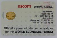 Télécarte à puce Ascom Monétel Demo smart card Suisse