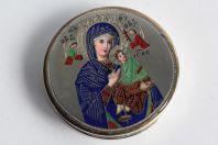 Ancienne custode à hostie émaux champlevé Vierge à l'enfant Religion