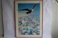 Affiche Tintin et le condor signé Alain Balencourt 1991 Hommage à Hergé