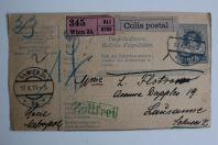 Bulletin d'expédition Autriche Vienne colis postale recommandé 1911