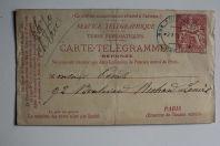 Carte réponse pneumatique Télégramme 30c rouge Paris