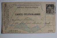 Carte Pneumatiques Télégramme 30c noir Paris