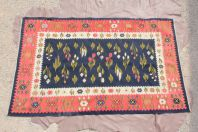 Tapis laine vintage Fleurs Roumanie