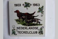 Carreau de faïence Nederlandse Teckelclub 1903 -1963 Chiens Pays-Bas