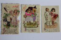 Images celluloïd gaufrée chromo 1er Avril XIXe siècle