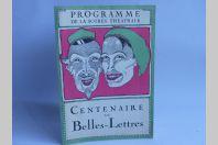 Programme Soirée Société étudiants Centenaire Belles Lettres Suisse