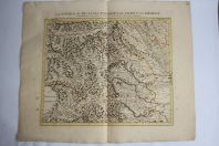 Carte Source du Po Passage France Piémont 1735 Covens Mortier