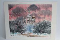Aquarelle originale Église orthodoxe russe