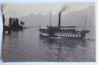 Ancienne photographie Collision bateaux Cygne Rhône Lac Léman Suisse
