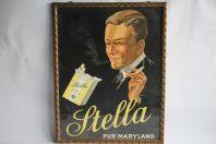 Affiche publicitaire lithographiée Cigarettes STELLA Pur Maryland