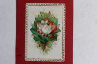 Chromo gaufré découpé fleurs Angelots XIXe siècle