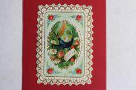 Chromo gaufré découpé fleurs hirondelle XIXe siècle