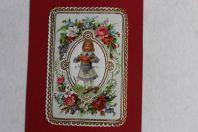Chromo gaufré fleurs XIXe siècle Fillette fleurs