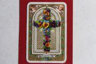 Chromo gaufré découpé XIXe siècle Croix anges religion
