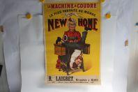 Affiche lithographiée publicitaire Machine à coudre New Home