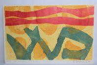 Sérigraphie couleurs gaufrage André BUCHER Eau terre et feu 1967