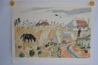 Lithographie originale Yves BRAYER Chevaux en Camargue
