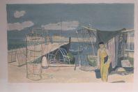 Lithographie originale Adrien HOLY Thonon-les-Bains Les nasses 1960
