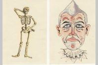 4 Cartes Postales à systèmes Jeux d'ombre et lumière Light and shadow Squelette Clown Cavalier cheval Danseur