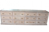 Meuble de métier Chêne cérusé 12 tiroirs