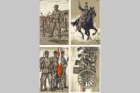 4 CPA militaires Lithographies originales J. Courvoisier au profit des militaires sans travail Genève