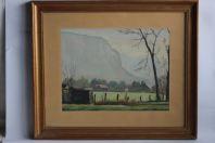 Aquarelle originale Villette (Savoie) M. VERDESI 1947